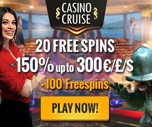 **EXCLUSIVE OFFER** CasinoCruise will give Guide to Gambling players 20 Free Spins No Deposit + a 150% Bonus up to $300 + 100 Free Spins