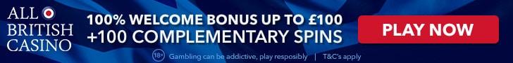 £ 100 Welcome Bonus + 100 Spins at All British Casino