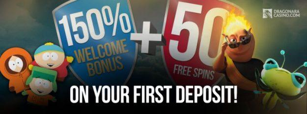 Get a 150% Welcome Bonus + 50 Free Spins at Dragonara Casino