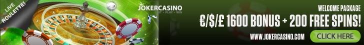 €/$/£ 1600 Bonus + 200 Spins at Joker Casino