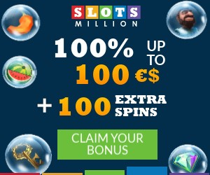 Get a $100 Welcome Bonus + 100 Extra Spins and over 2600 Games at SlotsMillion Casino