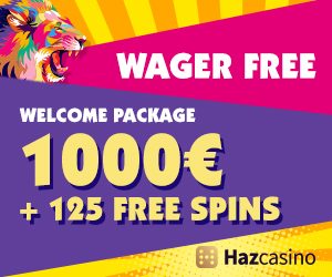 Get a €1000 Welcome Bonus + 125 Free Spins Wager Free  at Haz Casino